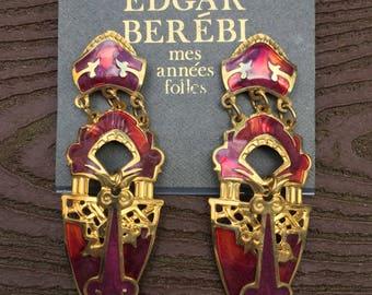 Stunning Vintage Edgar Berebi Runway Earrings New on Card Red & Gold