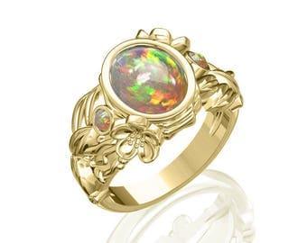 3-Stone Prime Australian Black Opal Ring in 14K or 18K Gold 2.15TCW Sku: R2304