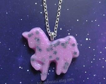 Unicorn Star Pastel Necklace Pink- Kawaii- Fairy Kei -Pastel Goth -Sweet Lolita-Gothic Lolita -Harajuku