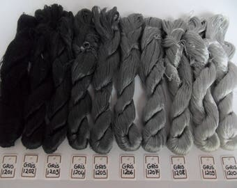 Gray silk embroidery threads