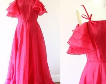 1970s Off the Shoulder Dress // 1970s cha cha pink dress // vintage dress