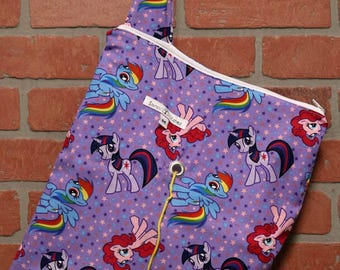 Medium Knitting Bag, Crochet, Knit, Yarn, Wool, My Little Pony, Yarn Storage, Yarn Bag with Hole, Grommet, Handle, MYB11