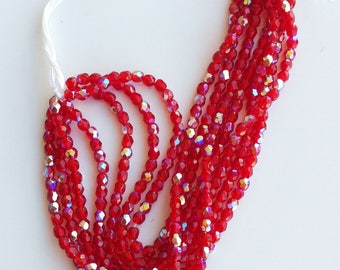 100 glass beads faceted iridescent red 3mm