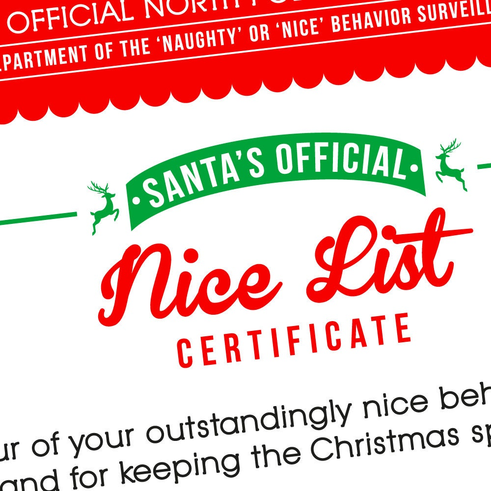 Nice list certificate naughty or nice printable christmas nice list certificate naughty or nice printable christmas stocking christmas printables for kids xflitez Gallery