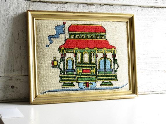 Vintage colorful San Francisco Streetcar needlepoint / framed
