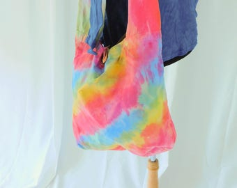 Rainbow Over The Shoulder Bag, Boho Rainbow Purse, LGBT Gay Pride, Sling Bag, Hand Painted Bag, Tie Dye Bag, Rainbow Tie Dye, Rainbow Hippie