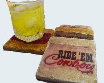 Country Western Theme Coaster Set of 4. My Heart Belongs to A Country Boy, Country Girl & More. Great Gift Idea!