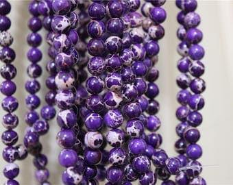 a strand of beads Aqua Terra Jasper round violet