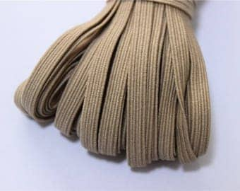 elastic Ribbon 5 meters flat khaki color