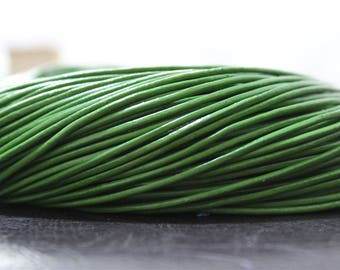 2 meters leather cord genuine 2mm thick green color