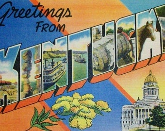 Greetings from Kentucky. Big letter vintage postcard. Linen finish unused.