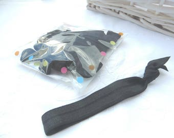 BLACK - ten black elastic hair ties