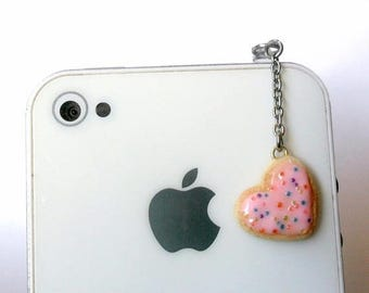 ON SALE Pink Heart Frosted Sugar Cookie Dust Plug, For Phone, iPhone or iPod, Cute :D