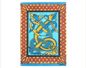 ACEO Original Miniature Artist Trading Card artwork - Celtic Knotwork Dogs design by artist Dee Summers