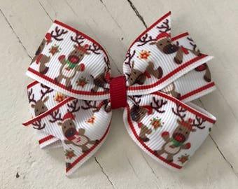"3"" Reindeer Pinwheel Bow"