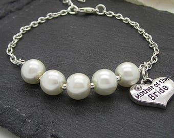 Mother Of The Bride Pearl Bracelet, Parents Wedding Gifts, Mother Of The Groom, Mum Of The Groom Gift, Mum Of The Bride Wedding Keepsake