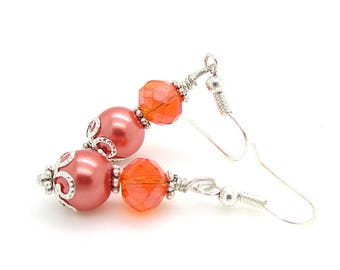 Cantaloupe Wedding Sets, Orange Bridesmaid Jewellery, Persimmon Wedding, Pearl Drop Earrings, Bridesmaid Sets, Crystal Dangles
