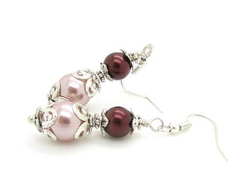 Truffle and Mocha Pearl Drop Earrings, Chocolate Bridesmaid Earrings, Cappuccino Wedding Jewellery, Brown Pearl Dangles, Bridesmaid Gifts
