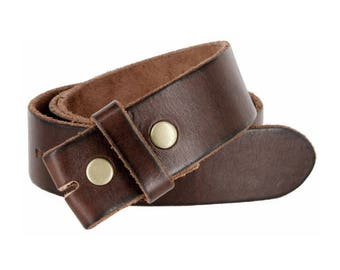 Genuine Dark Brown Leather Snap Belt Strap Men's sizes 32 34 36 38 S M L XL - Change your belt buckle - removable - snap on - handmade