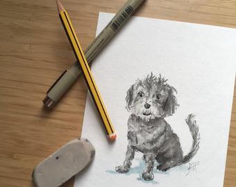 Custom Pet Portrait, Original Pet Watercolor Portrait, Dog Portrait, Cat Portrait, Horse Portrait, Original Pet Painting, 5x7, 8x10 Wall Art