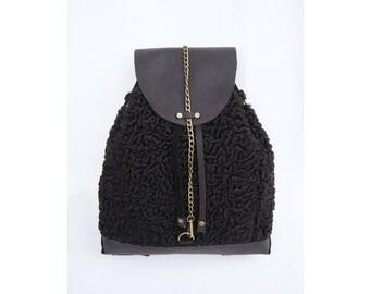 NOVA fur knapsack backpack / leather suede black gold bronze purse handbag tote shoulder bag
