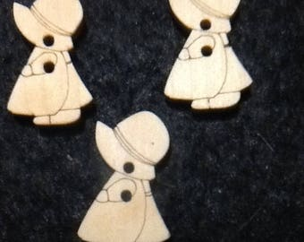 5 BUTTONS 2 HOLES WOODEN CHAPREAU FIVE LITTLE GIRL
