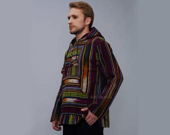 Baja Men's Hoodie – Mexican Hippie Style Polyester Blend Fabric Three Wooden Buttons Bright Multi Colors Modish Look  Purple-Green