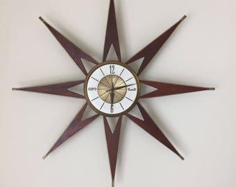 Mid Century Modern Atomic Elgin  Starburst Wall Clock