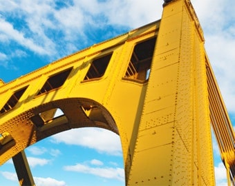 Pittsburgh Bridge Photo, color photograph, blue and yellow, fine photography prints, Saffron Steel