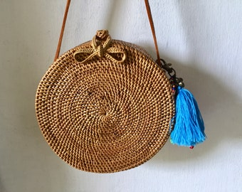 20 Cm  tassel Round Handmade Rattan| Lace kechil bag; Bali bags; Crossbody;Boho bag; Hippie Bags; Made from Bali, Indonesia