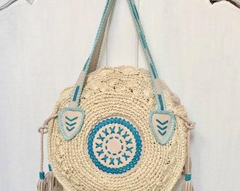 Marian  cream  leather Rattan|Ata Grass Round bag; Bali bags;; Boho bag; Hippie Bags; Made from Bali, Indonesia
