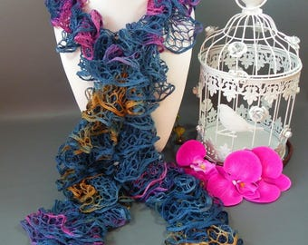 Fancy scarf * Triana * blue with splashes of color * 100 g * 143 cm length