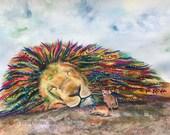Lion art: Safari nursery decor totem nursery art home decor kids room decor nursery prints nursery animal print Leo gift mouse art print