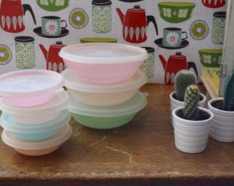 Vintage Retro Pastel Tupperware Storage Containers Cereal