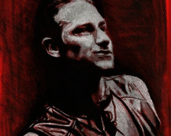 Original A4 charcoal drawing of Bono.