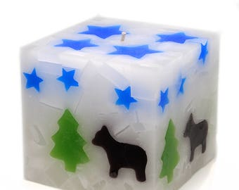 Cosmic Candles Bear Square Pillar Unscented 4x4