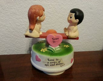 "1974 Kim Casali ""love is a series of ups and downs"" Musical Figurine - 2 Kids on See Saw"