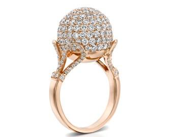 Diamond Ball Ring, Rose Gold Ring, Circle Diamond Ring, Micropave Diamond Ring, 18K Gold, Crystal Ball, Engagement Ring, Anniversary Ring