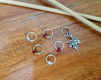 Maple Leaf Stitch Markers