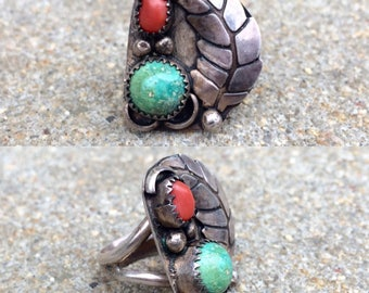 vintage old pawn Native American sterling silver turquoise coral southwestern ring size 7