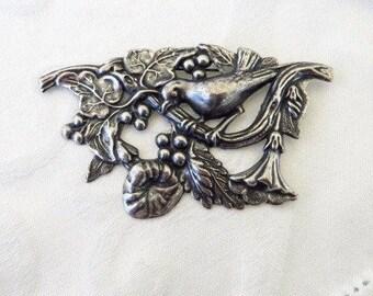 Antique Art Nouveau Brooch, Sterling Nouveau Bird Pin, Florals & Berries, Vintage Bird Jewelry, Nature Brooch