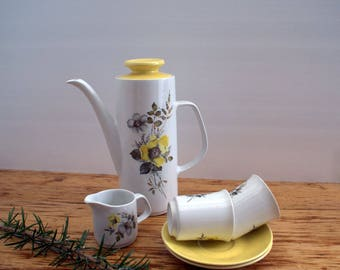 Retro Meakin Studio Coffee Pot, Milk Jug and 2 cups and saucers