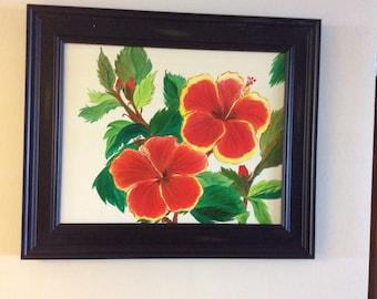 16 x 20 Hibiscus Oil Painting