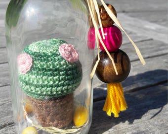 cactus in the bottle, crochet cactus, amigurumi succulent plant,