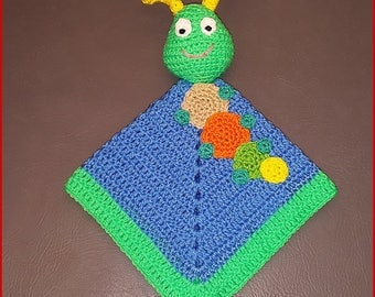 Ready to Ship Handmade Crocheted Caterpillar Lovey Baby Infant Security Blanket