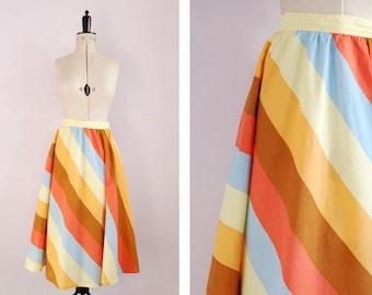 Vintage 1950s Pastel rainbow stripe print cotton circle skirt - 50s full skirt - 50s day skirt - 50s High waist swing skirt  - 1950s 50s S