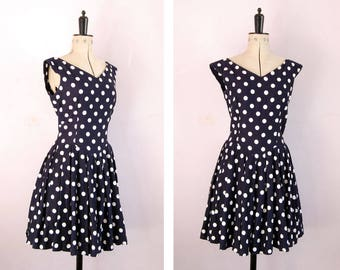Vintage 1980s 90s navy polka dot skater dress - 90s mini dress - Fit and flare dress - polkadot dress - Full skirt dress - 90s teadress