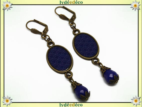 Earrings retro oval cabochon: seigaiha wave Japanese blue Ultramarine resin bronze beads glass pendants 20 mm x 15mm