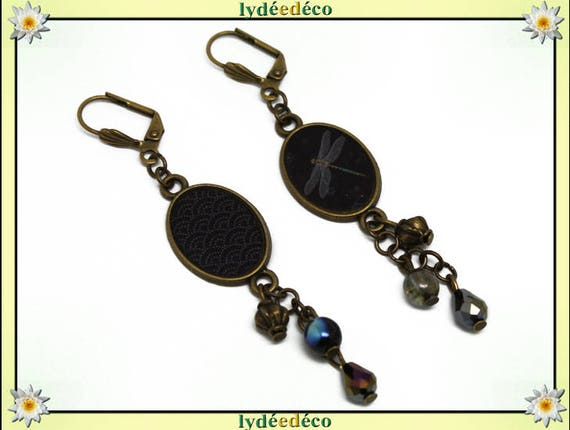 Earrings Japan resin brass waves of the sea: seigaiha Dragonfly gold grey black pearl glass pendants 20 mm x 15mm