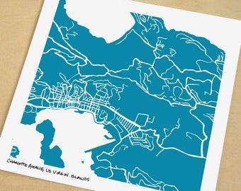 Charlotte Amalie Map, Hand-Drawn Map Print of Charlotte Amalie, St Thomas, USVI